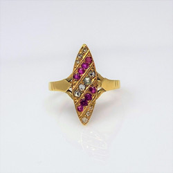 Antique English 15 Karat Gold Diamond and Ruby Ring