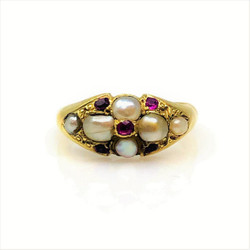 Antique English 15 Karat Ruby and Pearl Ring