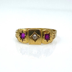Antique English 18 Karat Diamond and Ruby Ring