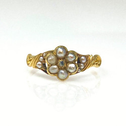 Antique English 15 Karat Gold, Old Mine Diamond and Pearl Ring