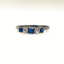 Antique American 14 Karat White Gold Sapphire and Diamond Ring