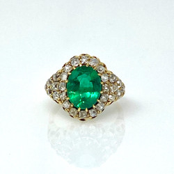 Antique Emerald and Old Mine Diamond Ring