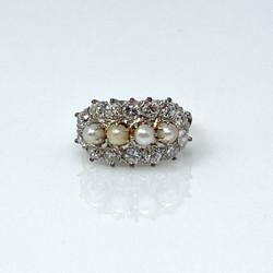 Estate Platinum Diamond and Pearl Ring