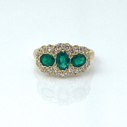 Emerald 1.06 Carat (Total Weight) and Diamond .53 Carat (Total Weight) 14 Karat Ring