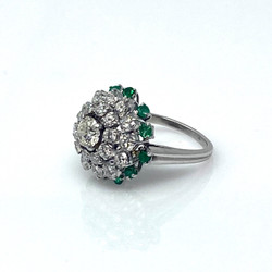 Estate Diamond .63 Carat Center, 2.38 Total Weight and Emerald Platinum Ring