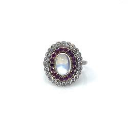 Estate Platinum Moonstone Diamond and Ruby Ring