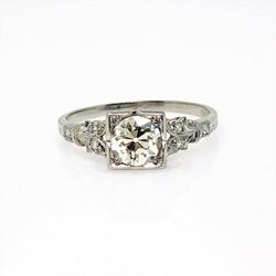 Estate 1940's 1 Carat Diamond VS-1, J Color Platinum Ring