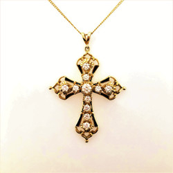 Handmade 14 Karat Gold and Black Enamel Diamond Cross (approximately 2 Carats TW of Diamonds)