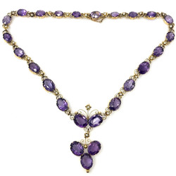 Antique American 14 Karat Gold Amethyst and Seed Pearl Necklace