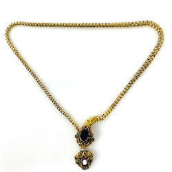 "Antique English Victorian ""Egyptian-Revival"" Style 15 Karat Gold Emerald and Garnet Snake Necklace"