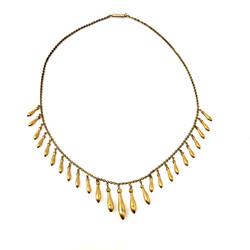 Fine Antique English 15 Karat Gold Teardrop Necklace