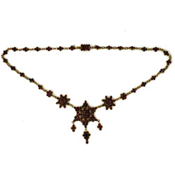 Antique Garnet and Sterling Vermeil Necklace, Circa 1870s-1880s