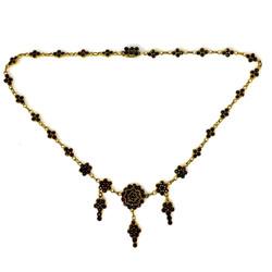 Fine Antique Garnet Necklace Set in Sterling Vermeil