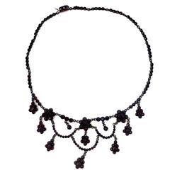 Antique Garnets set in Sterling Vermeil Necklace, Circa 1900