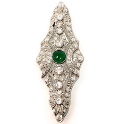 Antique Art Deco Fine Diamond and Emerald Bar Pin all Set in Platinum.