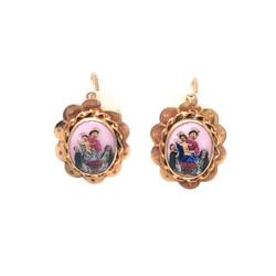Estate French 18 Karat Gold and Enamel  Earrings