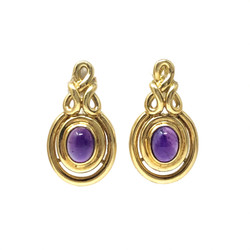 Cabochon Amethyst  and 14 Karat Gold Earrings