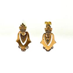 Antique American 14 Karat Gold and Hand-Painted Enamel Earrings