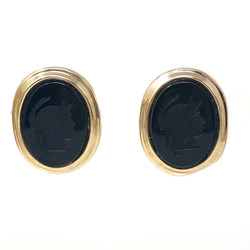 Carved Onyx Cameo Earring
