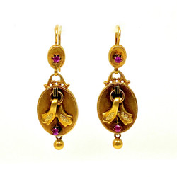 Antique American 14 Karat Gold and Ruby Art Nouveau Earrings