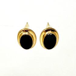 Estate Gold Filled Onyx Earrings