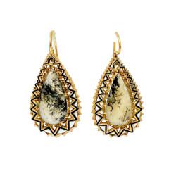 Estate English 18 Karat Gold Agate Earrings