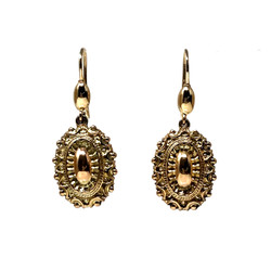 Antique English 9 Karat Etruscan Revival Earrings