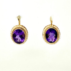 Amethyst Seed Pearl 14 Karat Gold Earrings