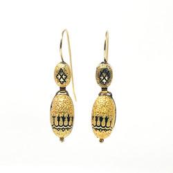 Antique American Gold-Filled Enamel Earrings