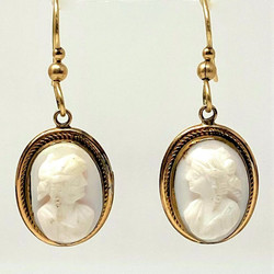Antique American 14 Karat Gold Cameo Earrings