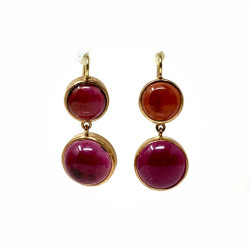 Estate American 14 Karat and Cabochon Garnet Earrings