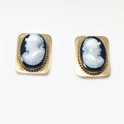 Antique American 14 Karat Stone Cameo Earrings
