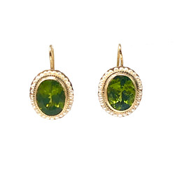 Peridot and Seed Pearl 14 Karat Gold Earrings