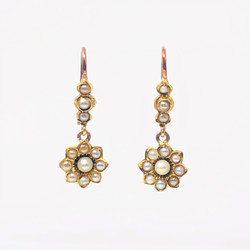 Antique English 15 Karat Gold Seed Pearl Earrings