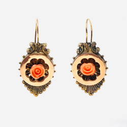 Antique American 14 Karat Salmon-Colored Coral Earrings circa 1890