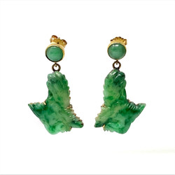 Antique Carved Jade Earrings