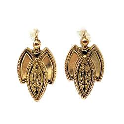 Pair Antique English 10 Karat Gold and Black Enamel Earrings