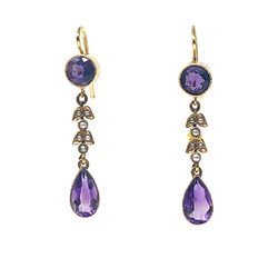 Estate Amethyst and Seed Pearl 14 Karat Gold Earrings