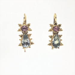 Pink and Blue Topaz Earrings
