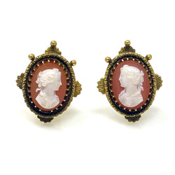 Antique American 14 Karat Cold and Cameo Earrings