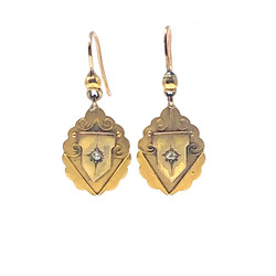 Antique English 15 Karat Diamond Etruscan Earrings circa 1880s