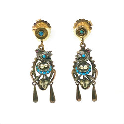 Antique American 14 Karat Gold and Silver Persian Turquoise and Seed Pearl Earrings