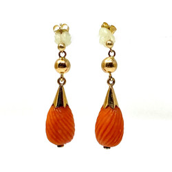 Antique American 14 Karat Cold and Coral Earrings