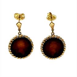 Pair Antique Carved Carnelian Earrings