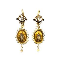 Antique English 15 Karat Pearl and Black Enamel Earrings