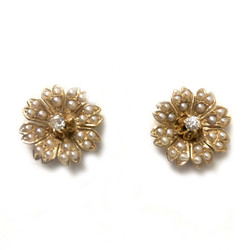 Antique American 14K Seed Pearl and Diamond Flower Earrings