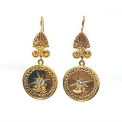 Hand-Made 14K and .56 C Diamond Earrings
