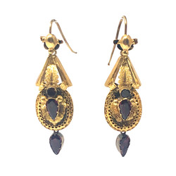 Antique English 15K Victorian Almandine Garnet Earrings