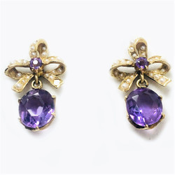 Antique American 14 Karat Gold Amethyst and Seed Pearl Earrings