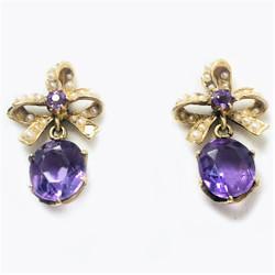 Antique American 14 Karat Gold Amethyst and Seed Pearl Earrings